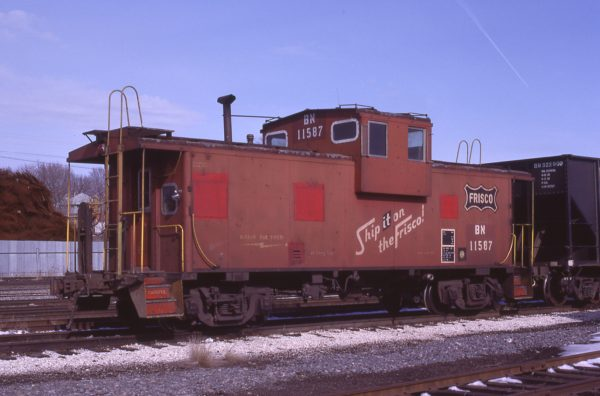 Caboose 11587 (Frisco 1259) at Ottumwa, Iowa on February 11, 1984 (Hugh Blaney)