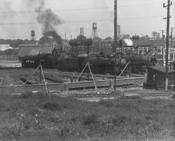 0-6-0 3744, 4-6-2 1035, and 2-8-0 1343 at Fort Smith, Arkansas (date unknown)
