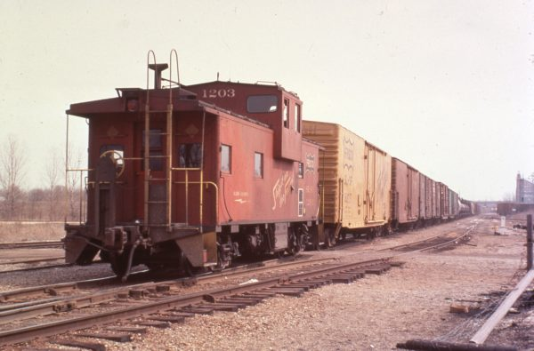 Caboose 1203 at Carthage, Missouri in 1979
