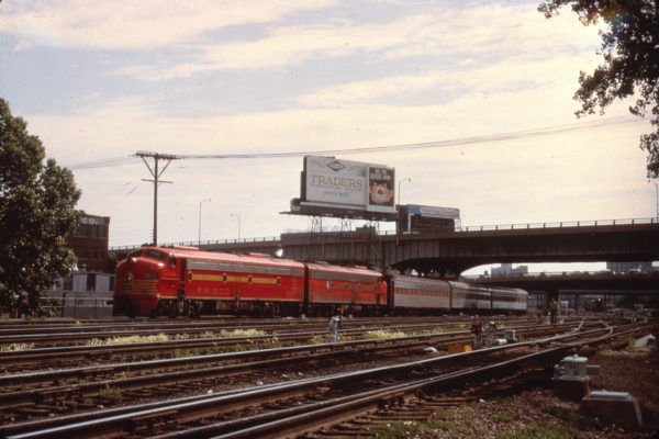 E8A 2010 (Count Fleet) on a passenger train at Kansas City in June 1963 (Al Chione)