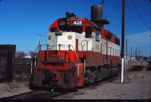 GP38-2 428 at Enid, Oklahoma on February 10, 1980 (Gene Gant)