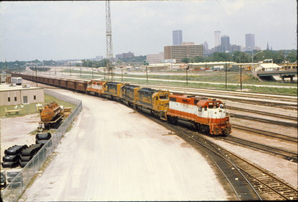 GP38-2 688 on a coal train at West Tulsa, Oklahoma on May 31, 1980 (Ken Moore Trackside Slides)