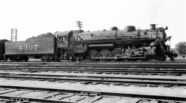 4-8-2 4307 at Monett, Missouri on September 22, 1938