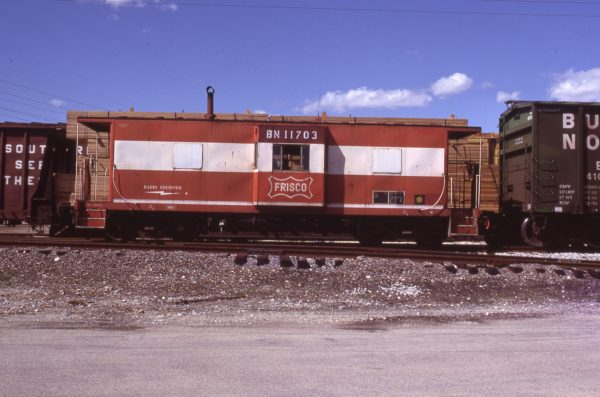 Caboose 11703 (Frisco 1729) at West Chicago, Illinois on April 3, 1985 (D.R. Halffield)