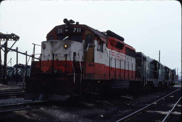 GP35 711 in the Chicago, Illinois BN Yard in July 1979