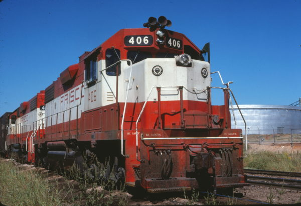 GP38-2 406 at Fort Worth, Texas on September 25, 1977 (Mel Lawrence)