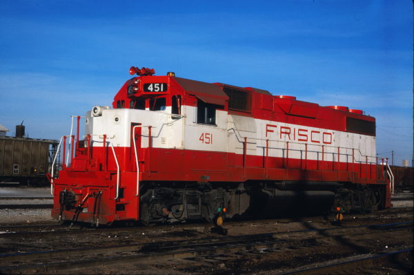 GP38-2 451 at Enid, Oklahoma on December 18 1980 (Gene Gant)
