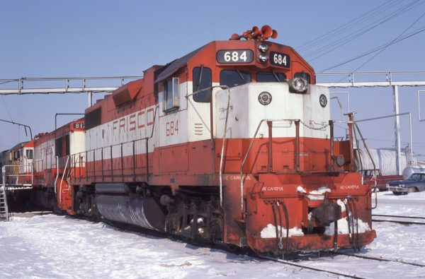 GP38-2 684 at Council Bluffs, Iowa in February 1979 (George Cockle)