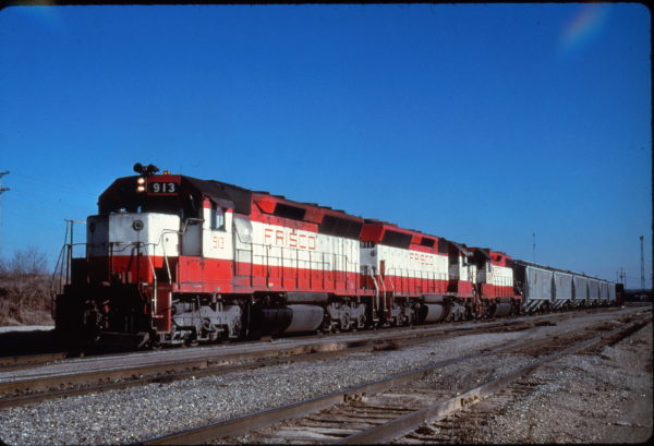 SD45s 913 and 911 lead a freight at Memphis, Tennessee on December 7, -1979