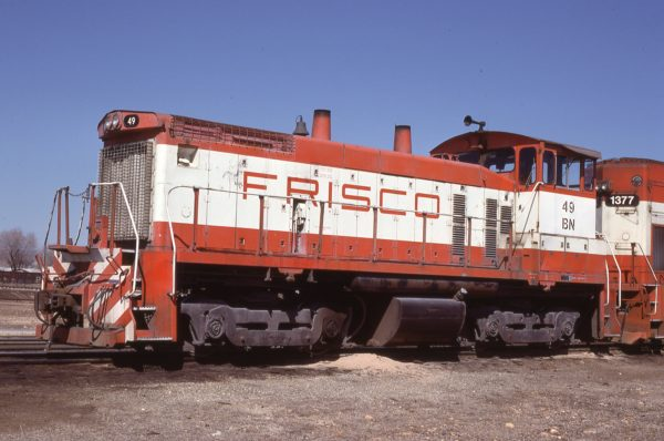 SW1500 49 (Frisco 344) at Springfield, Missouri on March 19, 1981 (Jim Shepard)