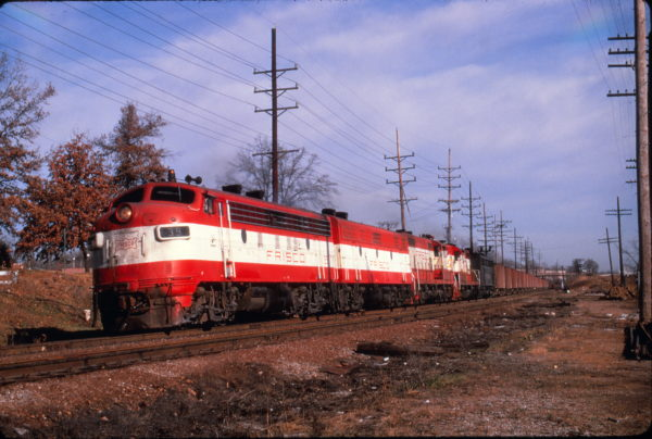 F7A 39 on a freight at Webster Groves, Missouri on November 21, 1970 (Al Chione)