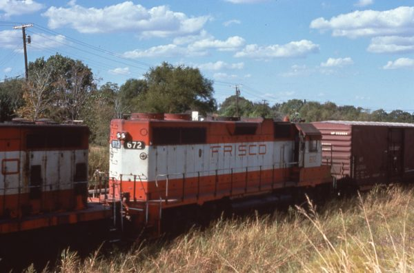 GP38-2 672 at Irving, Texas in October 1976 (C.D. Baker)