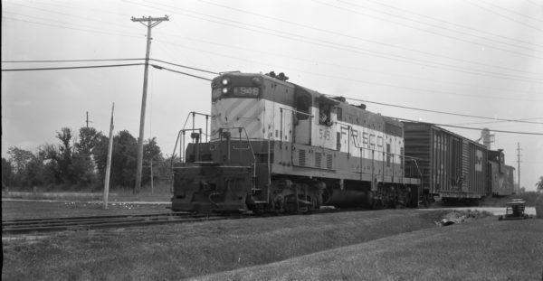 GP7 549 at North Clinton, Missouri in 1978