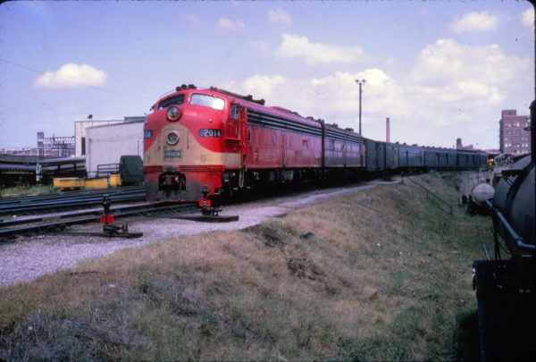 E8A 2014 on a passenger train at Memphis, Tennessee on August 28, 1965 (Al Chione)