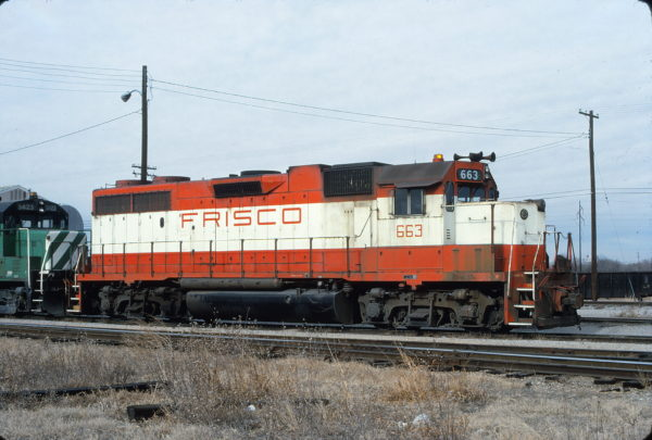 GP38-2 663 at Oklahoma City, Oklahoma on December 25, 1980 (Bill Bryant)