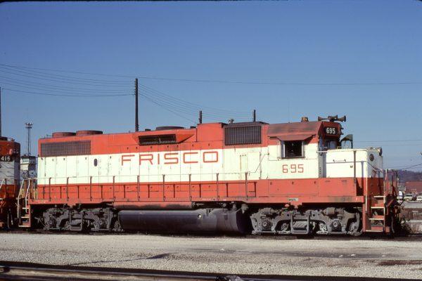 GP38-2 695 at Birmingham, Alabama in January 1981 (Bill Folsom)