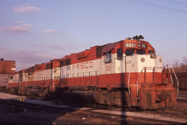 GP38-2s 681 and 694 at St. Louis, Missouri in February 1980 (M.A. Wise)