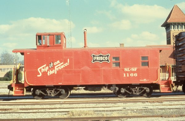 Caboose 1166 at Paris, Texas in December 1971