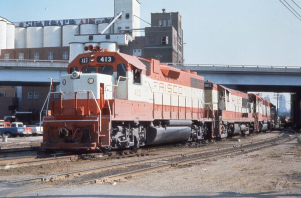 GP38-2 413 and U25B 803 at Rosedale, Kansas in 1977