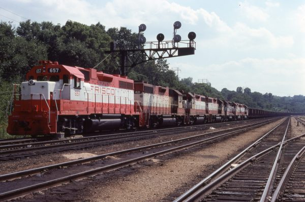 GP38AC 657, and GP38-2s 421 and 676 at Kansas City, Kansas on July 7, 1978 (P.A. Bergen)