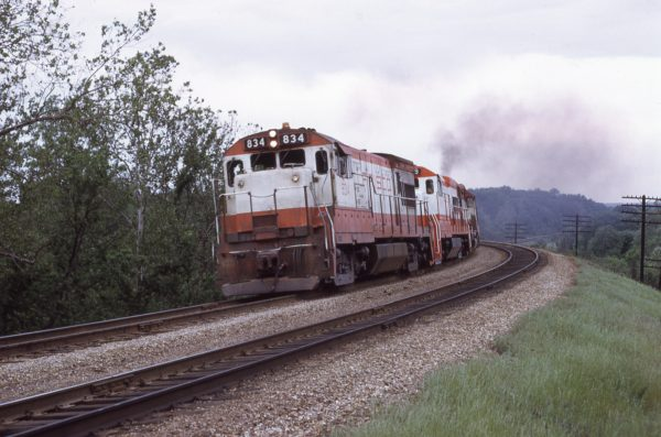 U30B 834 at Keyes Summit, Missouri in May 1973