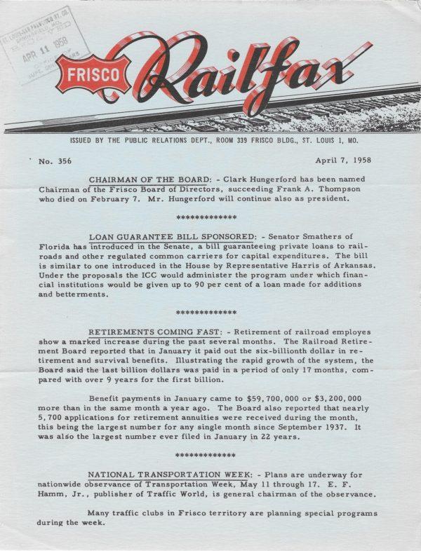 Railfax 356 - April 7, 1958