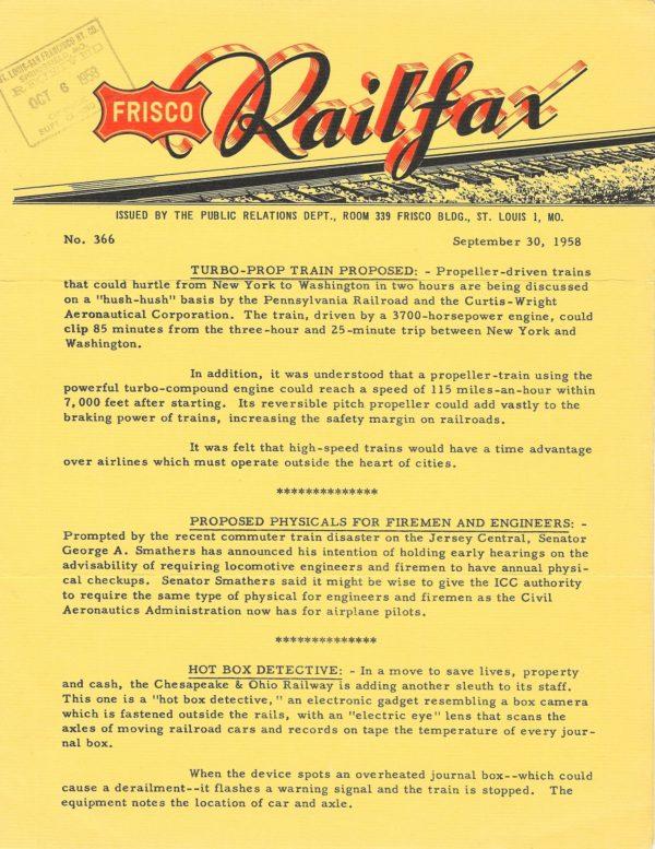 Railfax 366 - September 30, 1958