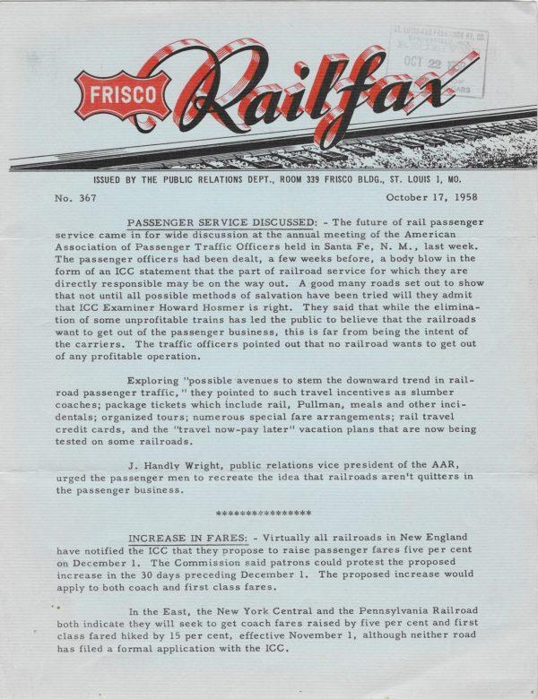 Railfax 367 - October 17, 1958