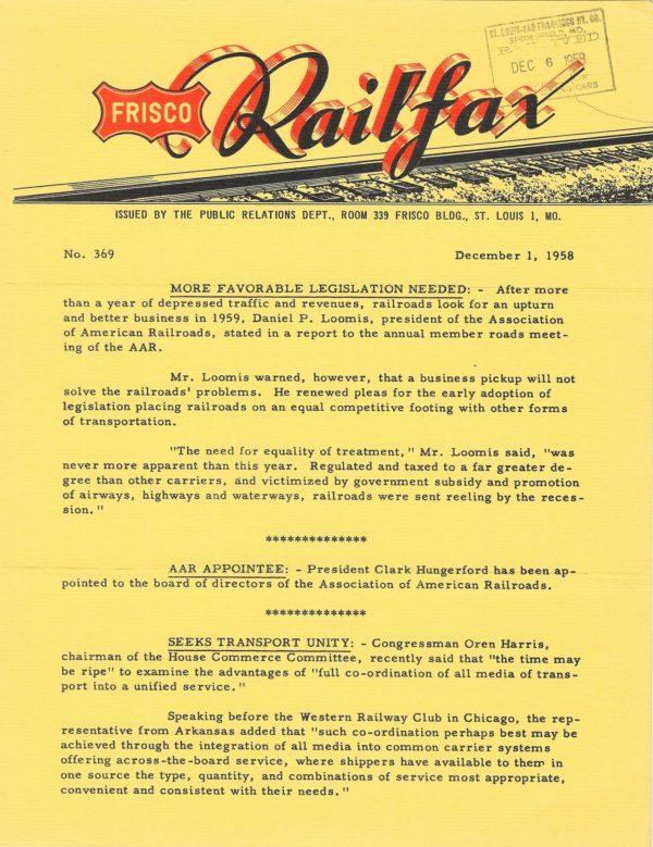Railfax 369 - December 1, 1958
