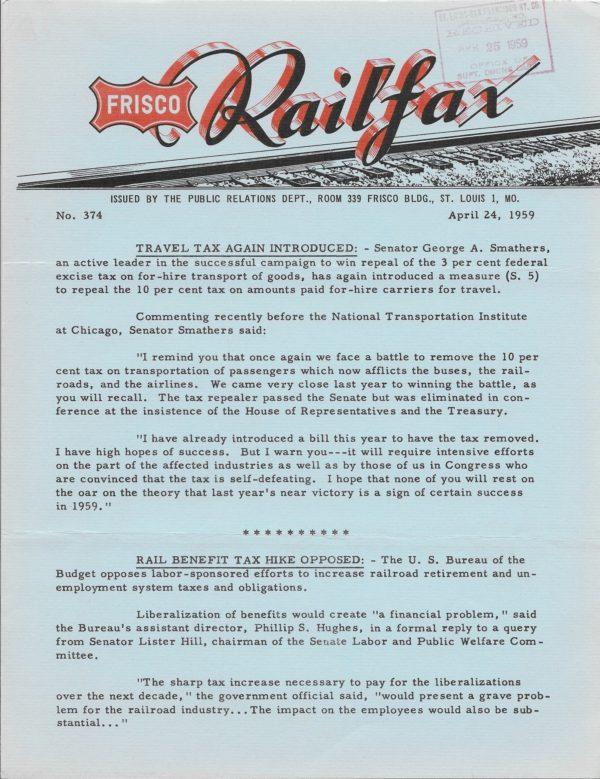 Railfax 374 - April 24, 1959