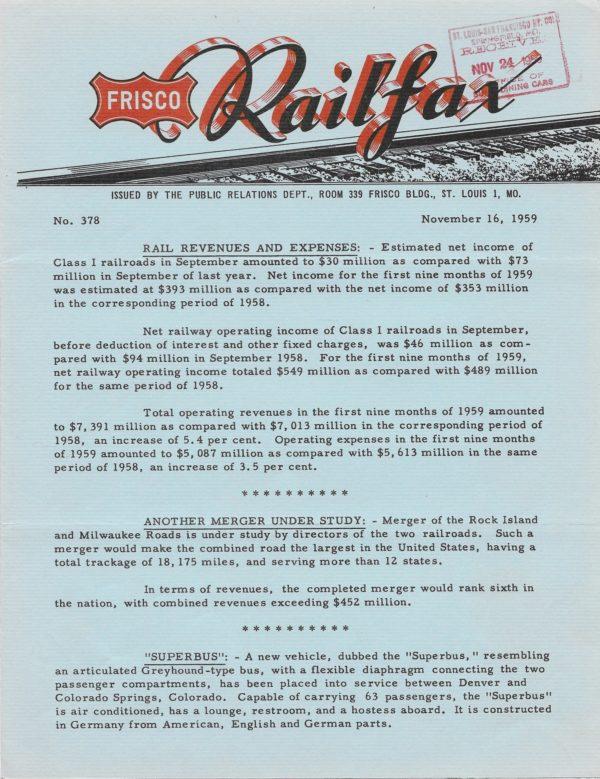 Railfax 378 - November 16, 1959