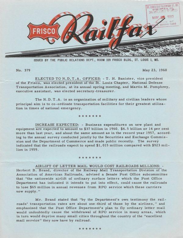 Railfax 379 - May 23, 1960
