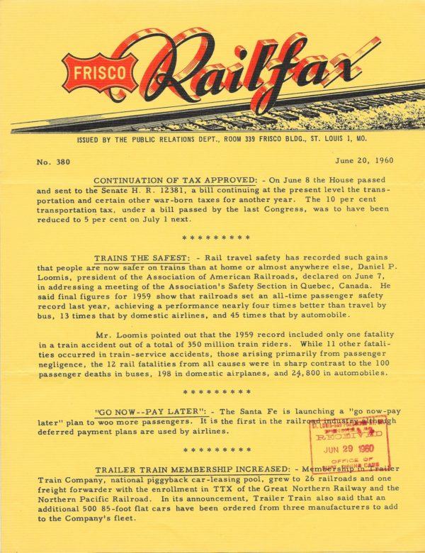 Railfax 380 - June 20, 1960