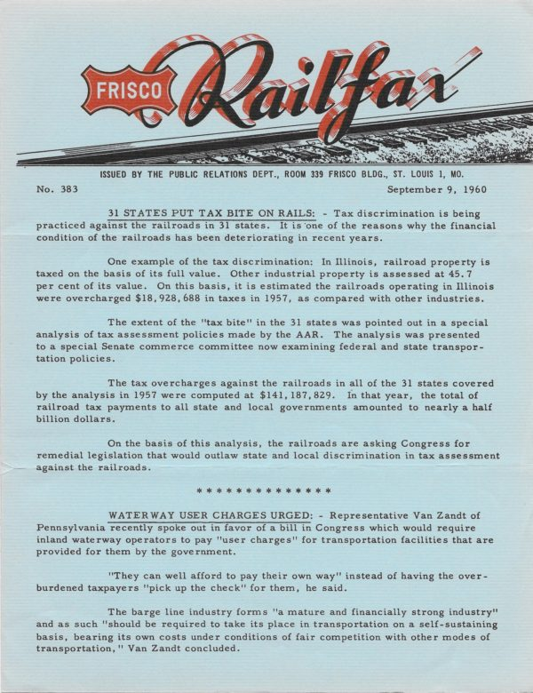 Railfax 383 - September 9, 1960