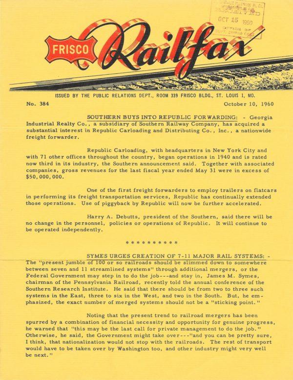 Railfax 384 - October 10, 1960