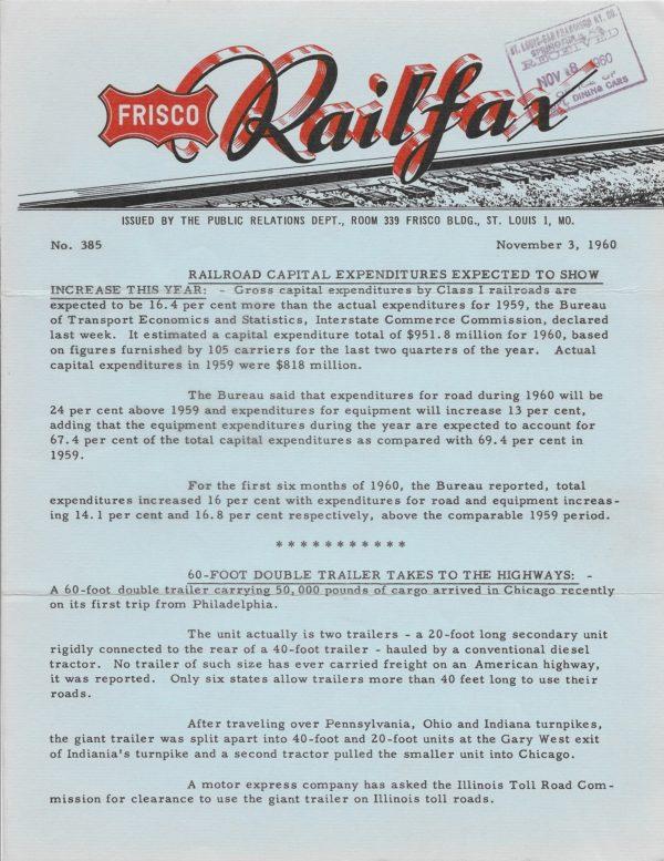Railfax 385 - November 3, 1960