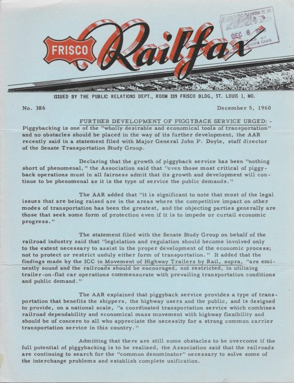 Railfax 386 - December 5, 1960