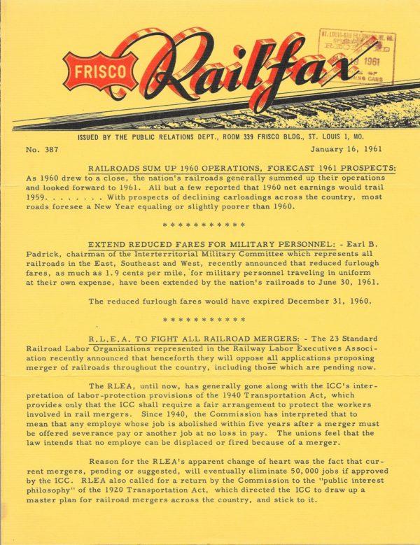 Railfax 387 - January 16, 1961