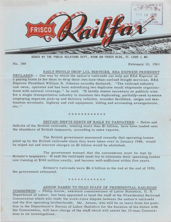 Railfax 388 - February 10, 1961
