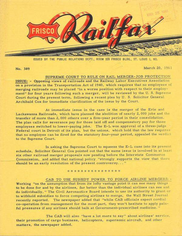 Railfax 389 - March 20, 1961