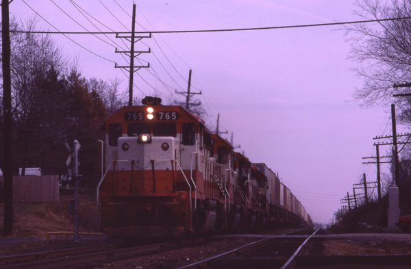 GP40-2 765 at Kirkwood, Missouri in May 1980