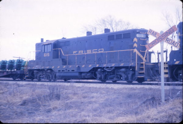 GP7 615 at Cherokee, Kansas in March 1963 (R.S. Snare)