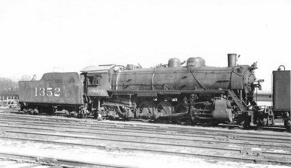 2-8-2 1352 at Springfield, Missouri on March 16, 1950 (Arthur B. Johnson)