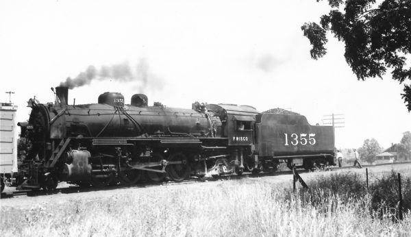 2-8-2 1355 with a work train at McComb, Mississippi on June 25, 1950