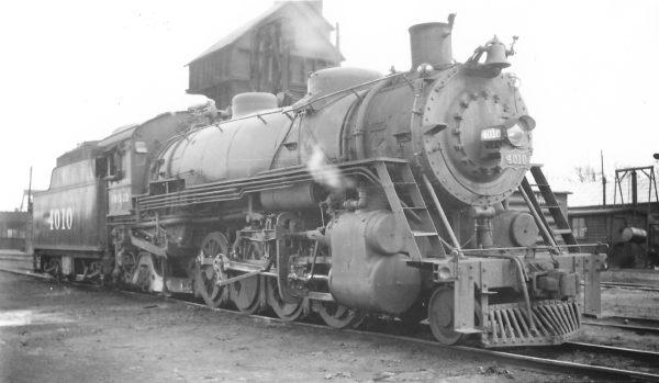 2-8-2 4010 at Monett, Missouri on March 20, 1948