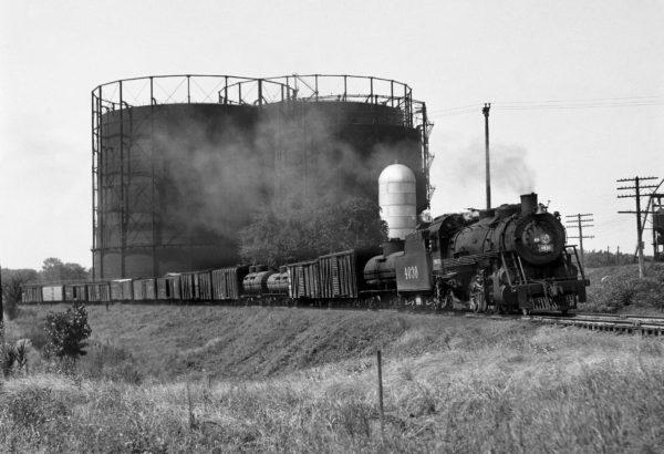 2-8-2 4030 Northbound at Southeastern Junction, St. Louis, Missouri in April 1942 (William K. Barham)