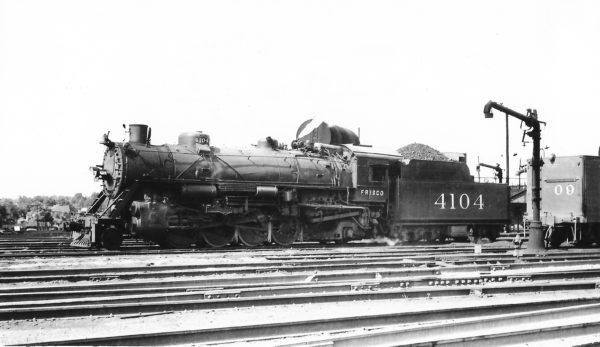 2-8-2 4104 at Springfield, Missouri on June 15, 1947 (Arthur B. Johnson)