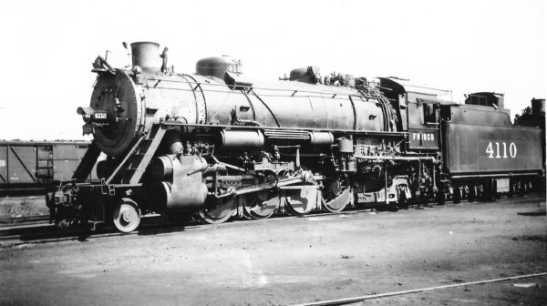 2-8-2 4110 at Monett, Missouri on September 7, 1947