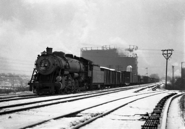 4-8-2 1502 on an Eastbound Freight at Southeastern Junction, St. Louis, Missouri in December 1941