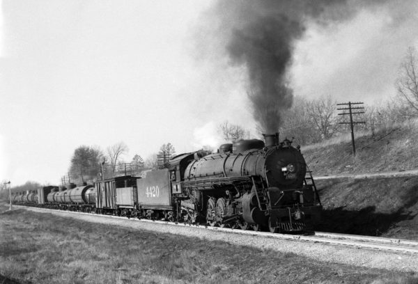 4-8-2 4420 Northbound with Train #38 at Kirkwood, Missouri in 1942